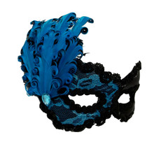 """Elena"" Turquoise Black Feather Lace Masquerade Prom Venetian Mask"