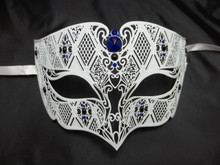 White Blue Diamond Design Masquerade Metal Filigree Mask Men
