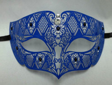 Blue Male Diamond Design Venetian Masquerade Metal Filigree Mask Men