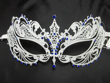 White Blue Crystal Beautiful Eyes  Mask Masquerade Metal Filigree
