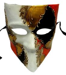 White Gold Black Red Bauta Venetian Masquerade Mask Paper Mache'