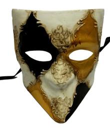 White Gold Black Bauta Venetian Masquerade Mask Paper Mache'