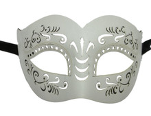 White Leather Laser Cut Venetian Masquerade Prom Mask