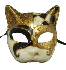 Black White Gold Gatto Cat Masquerade Mardi Gras Venetian Mask