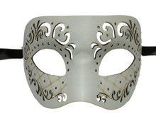 White Leather Laser Cut Venetian Masquerade Prom Western Mask