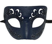 Dark Blue Leather Laser Cut Venetian Masquerade Prom Western Mask
