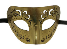 Bright Gold Leather Laser Cut Venetian Masquerade Prom Western Mask