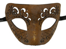 Brown Leather Laser Cut Venetian Masquerade Prom Western Mask