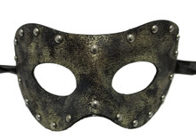 Silver Grey Studded Aged Leather Metallic Masquerade Prom Mask