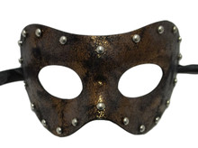 Copper Studded Aged Leather Metallic Venetian Masquerade Prom Mask