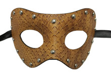 Snake Brown Studded Leather Metallic Venetian Masquerade Prom Mask