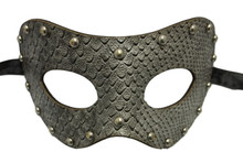 Snake Grey Studded Leather Metallic Venetian Masquerade Prom Mask