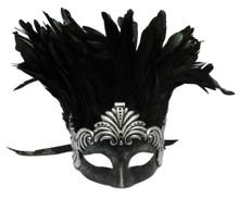 Silver Ancient Roman Warrior Feather Masquerade Mardi Gras Men's Mask