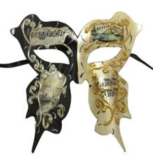 Butterfly White Black Venetian Scenes Masquerade Mardi Gras Prom Mask