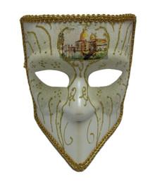 Bauta White Gold Glitter Venetian Mens Masquerade Halloween Mask