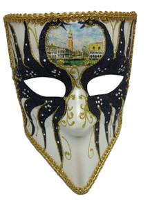 Bauta Navy White Gold Glitter Venetian Mens Masquerade Halloween Mask