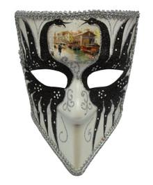 Bauta Black White Silver Glitter Venetian Mens Masquerade Mask