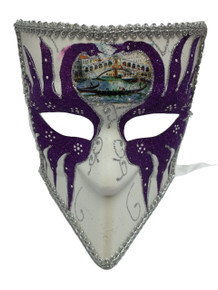 Bauta Purple White Silver Glitter Mens Masquerade Halloween Mask