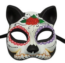 Day of the Dead Cat Flower Masquerade Mardi Gras Halloween Mask