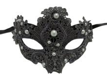 Dark Grey Pearl Macrame Lace Venetian Masquerade Mardi Gras Mask