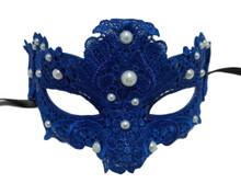 Blue Pearl Macrame Brocade Lace Venetian Masquerade Mardi Gras Mask