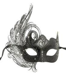 Black Swan Laser Cut Deluxe Venetian Masquerade Metal Filigree Mask