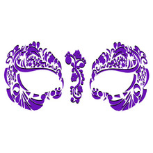 Masque Rage Temp Tattoo Mask Purple Mardi Gras Masquerade Costume