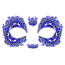 Masque Rage Temp Tattoo Mask Royal Blue Black Mardi Gras Masquerade