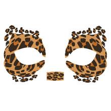 Masque Rage Temp Tattoo Mask Leopard Mardi Gras Masquerade
