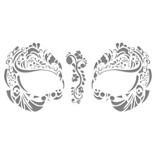Masque Rage Temp Tattoo Mask Metallic Silver Mardi Gras Masquerade