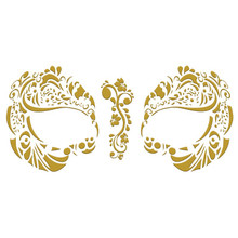 Masque Rage Temp Tattoo Mask Metallic Gold Mardi Gras Masquerade