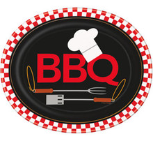 Backyard BBQ Grill 8 Ct Oval Paper Platters Party Banquet