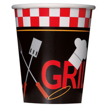 Backyard BBQ Grill 8 Ct 9 Oz Hot Cold Cups Paper Party Banquet