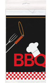 Backyard BBQ Grill Tablecover 54 x 84 Plastic Party Banquet