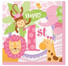 1st Birthday Pink Safari 24 Ct Beverage Napkins Animals Monkey