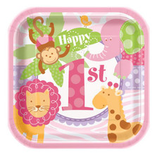 "1st Birthday Pink Safari 10 7"" Dessert Cake Plates Animals Monkey"