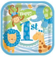 "1st Birthday Blue Safari 10 7"" Dessert Cake Plates Animals Monkey"
