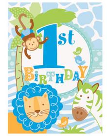 1st Birthday Blue Safari 8 Invitations with Envelopes Animals Monkey