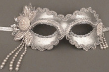 Divine in Silver Beaded Masquerade Mask