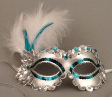 Jamboree in Teal White Silver Feather Sequin Masquerade Mask