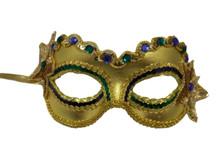 Radiance Mardi Gras Purple Green Gold Sequin Masquerade Mask