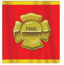 Firefighter Tablecover Fire Chief Badge Birthday Party 54 x 108