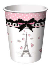 Party in Paris Birthday 8 9 oz Paper Cups Eiffel Tower