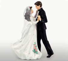First Dance Wedding Couple with Black Tux Figurine Cake Topper Wilton