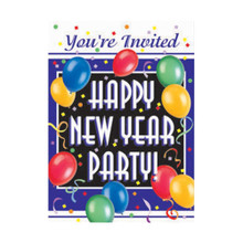 New Years Eve Blast Party 8 Invitations with Envelopes