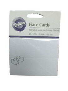 Silver Double Heart 40 Placecard White Wedding Anniversary