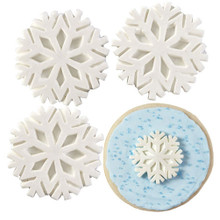 Royal Icing Decorations with Sparkle Snowflakes white 12 Ct Wilton