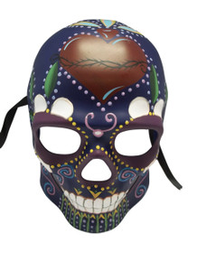 Purple Glow in Dark Day of the Dead Halloween Skull Masquerade Mask