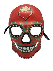 Red Glow in Dark Day of the Dead Halloween Skull Masquerade Mask