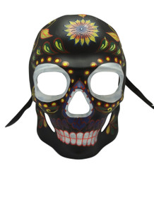 Black Glow in Dark Day of the Dead Halloween Skull Masquerade Mask